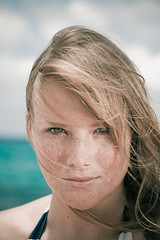 Freckles and beautiful eyes (Fabi Fliervoet) Tags: portrait beach girl lady outdoors model eyes stock blonde caribbean freckles stmaarten sintmaarten environmentalportrait
