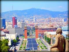 plaza de espanya vista desde el palau nacional en montjuic, barcelona (Clo McBeal) Tags: barcelona bcn catalunya barcino catalua montjuic mediterrneo mediterraneansea