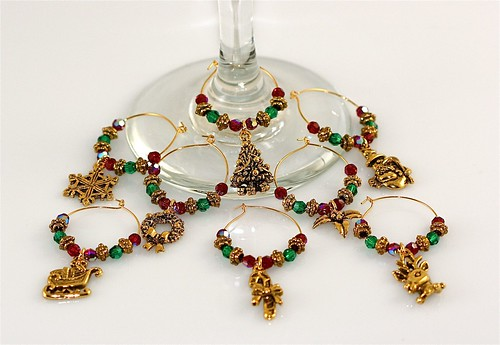 Antiqued Gold and Swarovski Crystal Christmas Wine Glass Charms