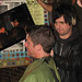 Billie Joe Armstrong of Green Day got into the action and started giving mohawks by joeywan