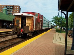 Westbound Canadian Pacific freight train with a former Soo Line caboose on the rear. Bensenville Illinois. August 2006.