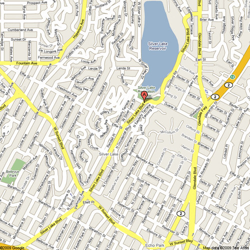 Silver Lake Blvd. Map from Sunset to Glendale