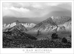 Autumn Storm Clouds at Dawn - Basin Mountain and Mount Humphreys (G Dan Mitchell) Tags: california morning autumn trees light shadow blackandwhite usa mountain storm fall clouds season dawn early high rocks desert patterns nevada stock dramatic peak crest basin sierra ridge mount boulders valley eastern range bishop slope buttermilk illuminate owens humphreys escarpment induro