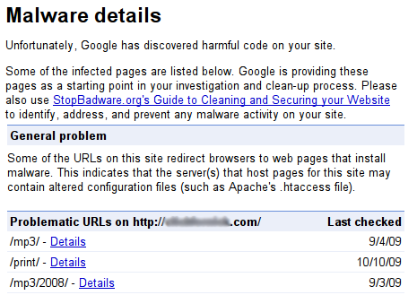 Google Webmaster Tools Labs: Malware Details