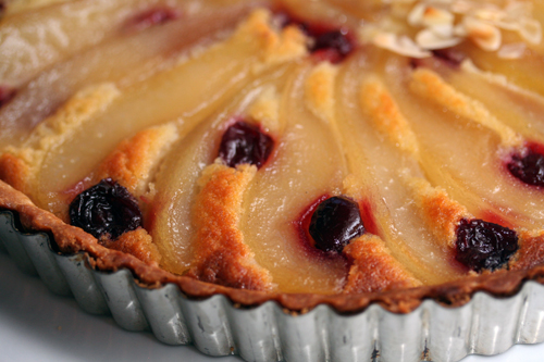 pear & cherry tart