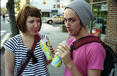 Couple with Slurpees (Matt.Dunn) Tags: street film dc washington dcist mattdunn lindsayhart dylancarpenter