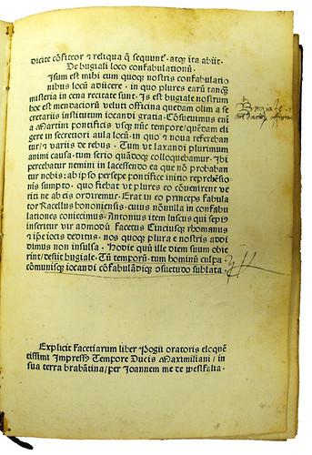Annotations in Poggius Florentinus: Facetiae