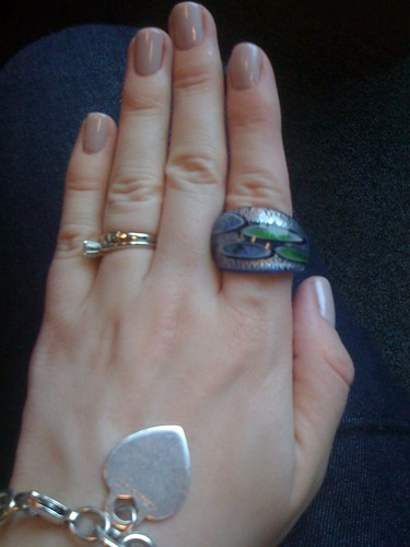 green and blue mfa glass ring