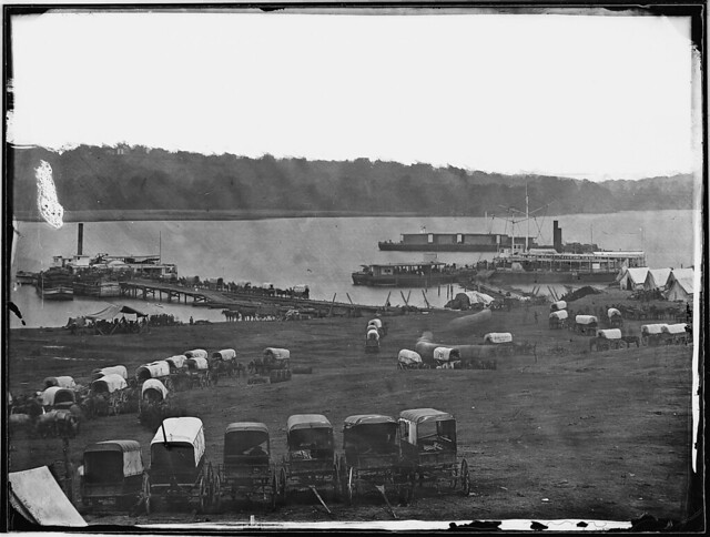 Landing and wagon train James River Va by The US National Archives