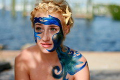 Mother Sea Part IV (Ally Newbold) Tags: world ocean blue sea slr water digital canon painting allison four photography rebel gold agua paint starfish young mother part teen teenager series killa earrings iv braid teenage sooc xti