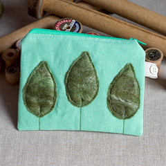 new pouch, and props (raspberryfairy) Tags: new trees green linen felt pouch props reels bobbins
