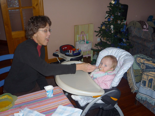 Grandma feeding Nora