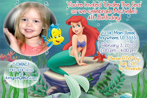 This is an Ariel, The Little Mermaid Birthday Invitation design that