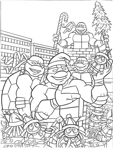 """""""Teenage Mutant Ninja Turtles"""" Holiday Coloring Book by Bendon Publishing / Coloralot Books  { Jumbo edition }  B-W cover  art by Lavigne / Brown  (( 2005 ))"""