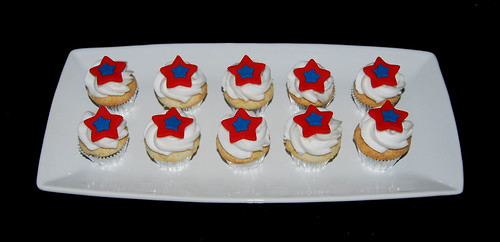 4th of July red white and blue mini cupcakes