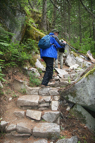 Steps on the Crossover on Iron Goat Trail