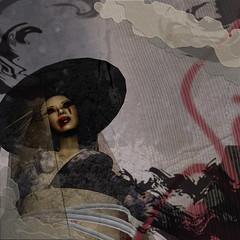 Stolen (Lillian Shippe) Tags: red white black hat collage ties dark fire japanese grey blood mixed media veil avatar rope lips pale sl secondlife graffitti kimono obi nightmare lipstick smear cry av bodyline lillianshippe