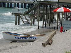 Atlantic City, NJ -  beach, Atlantic Ocean (Guenther Lutz) Tags: usa beach june umbrella pier newjersey sand waves sony nj cybershot atlanticcity northamerica rowboat northeast atlanticocean 2009 jerseyshores