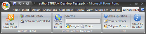 authorSTREAM Desktop tab in the PowerPoint 2007 Ribbon