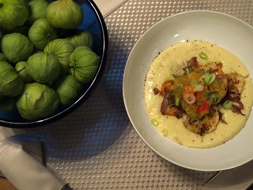 tomatillos and shrimp and grits
