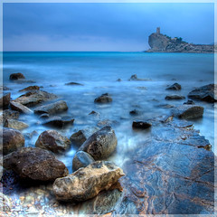 Cala del Charco... (Alex Stoen) Tags: blue sky cliff castle water colors photoshop canon geotagged photography photo spain rocks flickr waves torre foto fav50 fav20 alicante fav30 canoneos castillo hdr highdynamicrange cala benidorm montains lightroom fotografa longexposures fav10 photomatix fav25 fav40 canonef24105mmf4lisusm fav60 ef24105f4lisusm fav80 fav70 fav75 canon5dmarkii lightroom24 alexstoen caladecharco geo:lat=38489304 geo:lon=0279636 alexstoenphotography