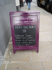 Konditor delicious James (Ambernectar 13) Tags: white london coffee fruit pavement thecity august icedcoffee iced juices 2009 blackboard thegherkin chalkdrawing stmaryaxe aboard chalkwriting konditorcook beattheheat pavementsign missspelt deliciousjames whitefruitjuices