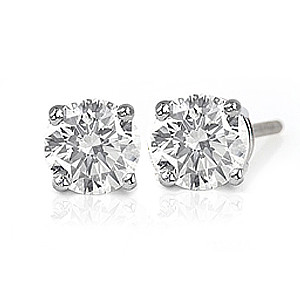 4 Prong White Gold Diamond Stud