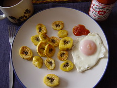 eggs, fried plaintains, and chili sauce...what could be better? (Shanti, shanti) Tags: breakfast eggs plaintains ocfd