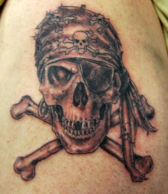 skull and crossbones tattoo. mostly finished. its going to eventually be