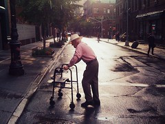"""No matter what it takes..."" (Sion Fullana) Tags: sunset urban newyork hat streetphotography beautifullight oldman walker elderly aftertherain pinkshirt allrightsreserved newyorkers iphone crossingthestreet whitehat urbannewyork iphoneshots iphoneography iphoneographer sionfullana nomatterwhatittakes manwithawalker throughthelensofaniphone"