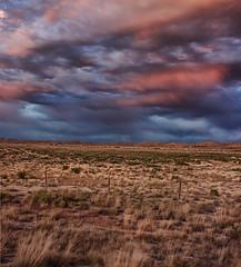 PrarieTrainSunset (wishiwsthr) Tags: sunset train fence wyoming prairie