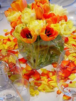 Summer tulip centerpiece