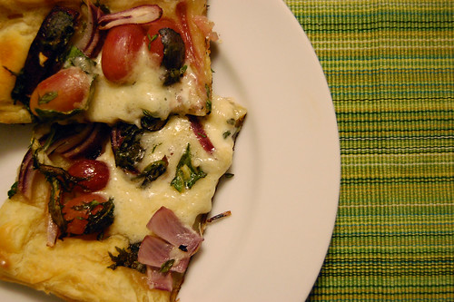 Supper Tart of Red Onions, Greens and Grapes