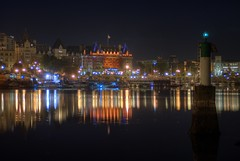 Victoria B.C Night Views (HDR series) (Brandon Godfrey) Tags: pictures city longexposure autumn urban canada west detail reflection building tower fall water grass skyline architecture night docks buildings reflections boats lights sussex hotel bay harbor boat amazing long exposure ship bc view shot bell photos shots harbour britishcolumbia flag sony centre details capital columbia victoria canadian inner vancouverisland walkway views planes series vic british empress float beacon 2009 thefalls hdr highdynamicrange royalbritishcolumbiamuseum cibc songhees a300 rbcm photomatix theempresshotel thebaycentre tonemapped tonemapping freewallpaper sonya300 mynorthwond