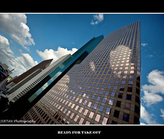 READY FOR TAKE OFF, FLICKR? (RUSSIANTEXAN ) Tags: sky reflection glass clouds buildings nikon texas skyscrapers pov steel gorgeous perspective houston wideangle tall russiantexa