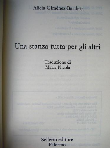 Alicia Giménez-Bartlett, Una stanza tutta per gli altri, Sellerio 2009; frontespizio (part.)