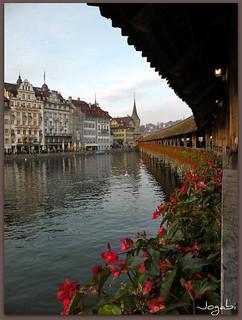 Vue depuis le Pont de la Chapelle à Lucerne/Switzerland