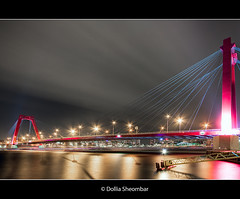 Willemsbrug - Rotterdam (DolliaSH) Tags: city longexposure bridge light urban haven holland color water colors architecture night canon reflections river puente photography lights noche photo rotterdam europe foto nightshot photos nacht harbour tripod nederland thenetherlands wideangle ponte most le pont brug maas brücke ultrawide nuit 2009 1022mm notte hdr stad willemsbrug noordereiland noch zuidholland brucke photomatix 50d tonemapping nachtopname canoneos50d detailsenhancer photoshopcs4 dollia dollias sheombar dolliash