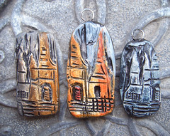 Places - pendants and beads (gabriel studios) Tags: building castle texture floral architecture jewelry charm clay bead etsy pendant polymer michelegabrielstudios michelegesing