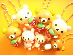 Kawaii Rilakkuma & Korilakkuma Bear Swing Keychain San-x Japan (Kawaii Japan) Tags: bear pink white cute smile animals japan shop shopping asian toy happy japanese store costume nice strawberry keychain doll brinquedo pretty teddy little cosplay character small adorable mini charm swing goods masco