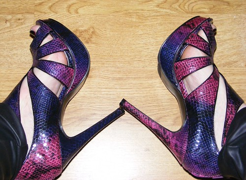Purple and pink snake effect heels