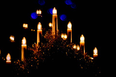 Light a Candle... (Chris H#) Tags: christmas blue winter light reflections gold candle shadows bokeh sparkle tinsel s3000 lightacandle christmascandles nikond5000