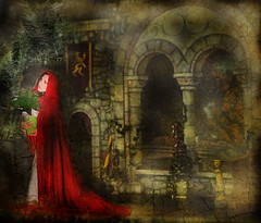 whispers of Christmas past... (~lala~(Lisa)) Tags: christmas red portrait woman selfportrait painterly art texture me fairytale composition self vintage myself model nikon artistic robe antique dream deep 9 lisa overlay poetic velvet sp nostalgic dreamy layers cloak 365 satin storybook tones magical renaissance visualpoetry selfie d90 365days i nikond90 ~lala~ 365days2009 project36612009 whispersofchristmaspast