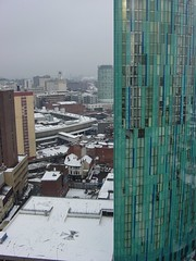Birmingham in snow | Beetham Tower & the Rotunda (AY Stock) Tags: city winter england snow weather skyline birmingham rotunda snowfall citycentre westmidlands brum beethamtower hollowaycircustower