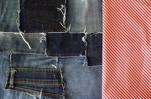 I think what this crazy freeform denim needs is some formal shirting. A diagonal stripe perhaps, hmmmm yes...