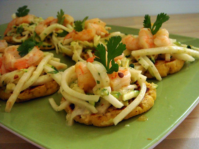 Lentil Gorditas with Baja Shrimp Topping