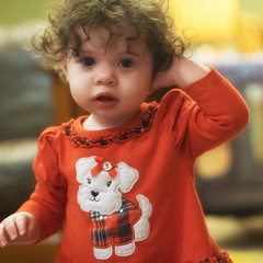 Little Princess (rhbonham) Tags: 1yearold princess portrait indoors toddler curls messyhair babygirl elements