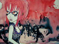 He visto morir una estrella en el cielo de Orin (P. Mockingjay) Tags: red black girl illustration pen pencil sketch paint drawing exhibit doodle messy inspire exposicin