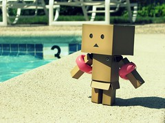 Ready to go in (willycoolpics.) Tags: summer hot water pool robot wings action explore cardboard figure nervous picnik danbo revoltech abigfave danboard iwentinthewaterbuticantswim