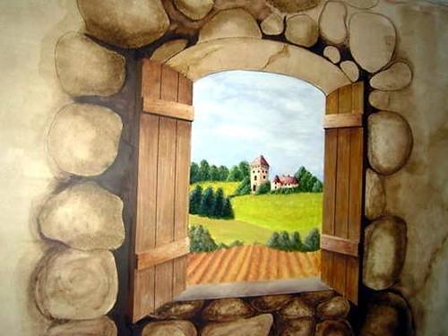 Tuscan View Mural (wall art)